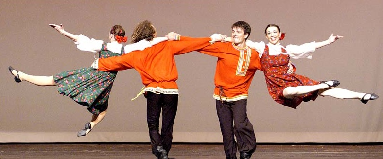 """Still smiling… """"Don't worry, Centrelink - we're fine!""""  Photo credit Barynya Russian folk dance troupe."""