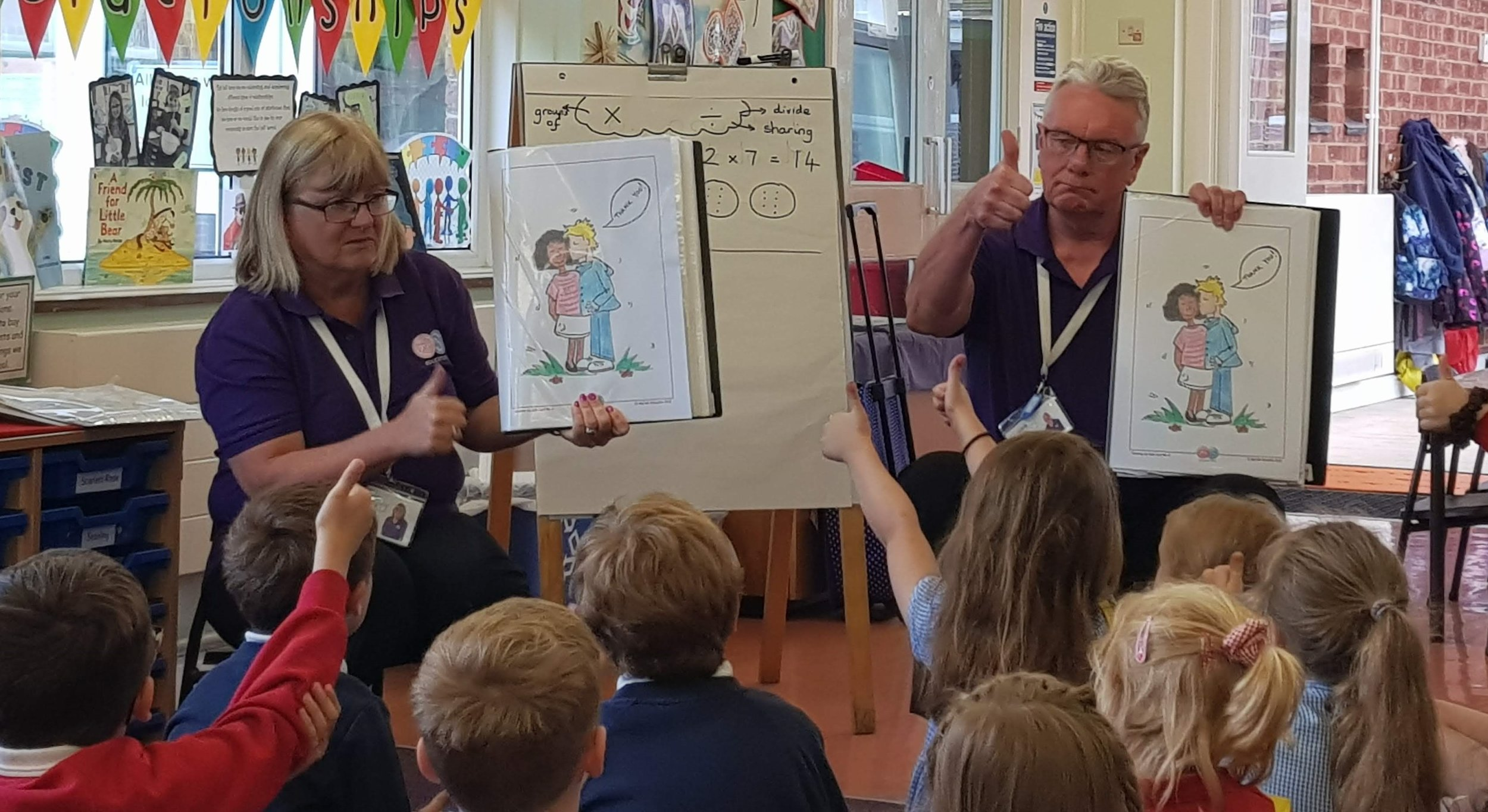 Primary school students understand respect and boundaries. Here a kindergarten class in the U.K. discuss the 'sloppy kiss.' Photo courtesy the author.