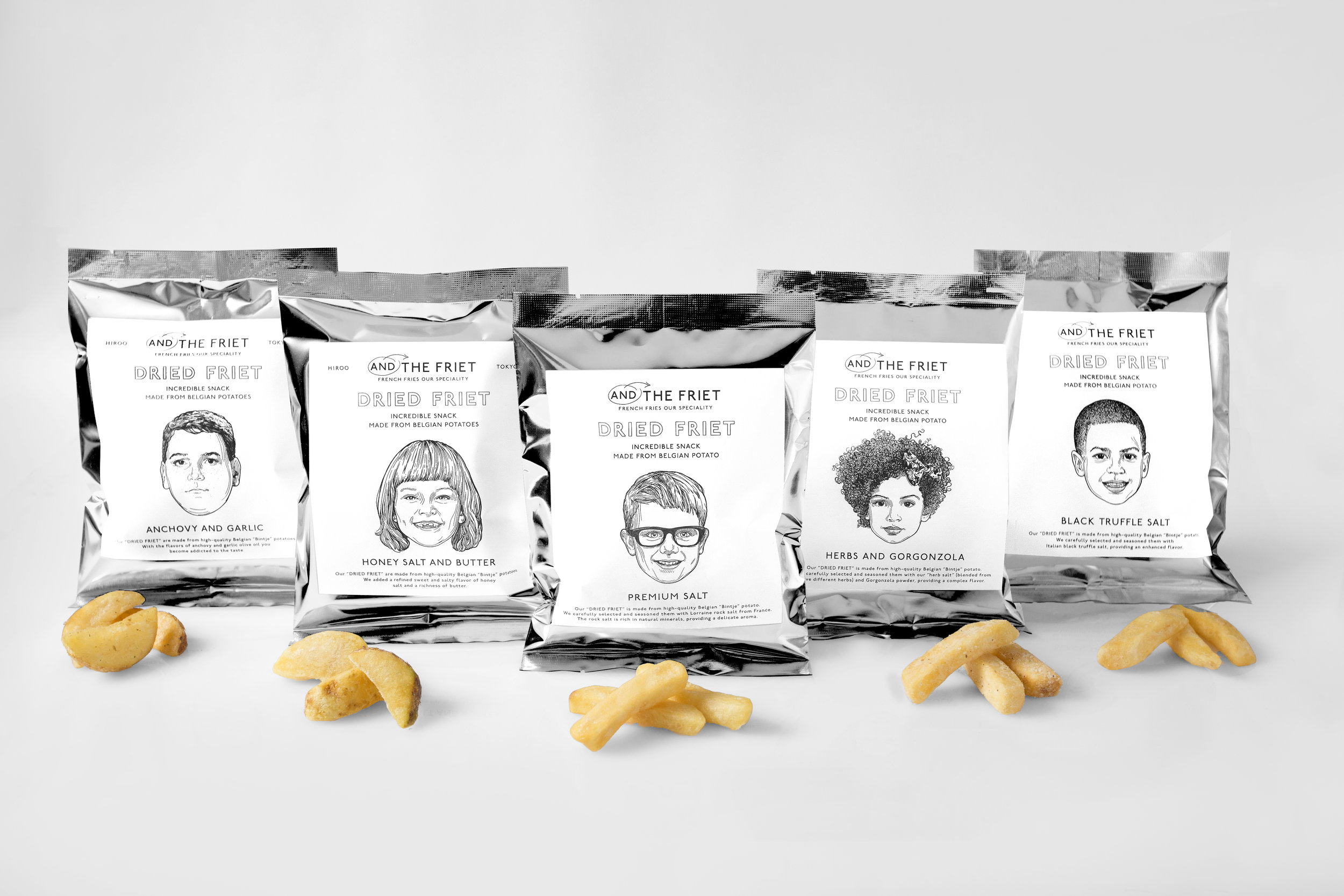 DRIED FRIET Company: AND THE FRIET Art Direction: Naomi Hirabayashi (PLUG-IN GRAPHIC)  Illustration: Anje Jager