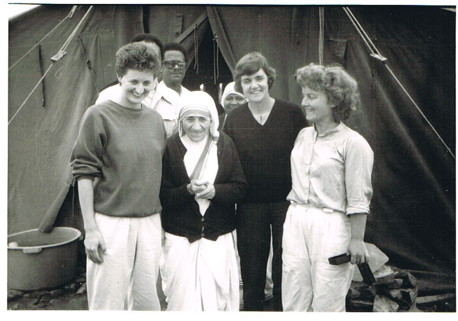I'm on the left of Mother Teresa and my 2 colleagues, Joanne and Colleen are on the right