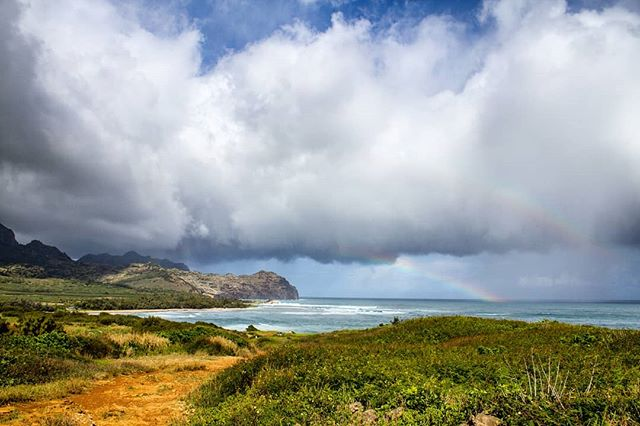 Double Rainbow on the Heritage Trail in Kauai. . . . #kauai #hawaii #poipu #poipukauai #mahaulepuheritagetrail #rainbow #doublerainbow #hikehawaii #hiking #coast