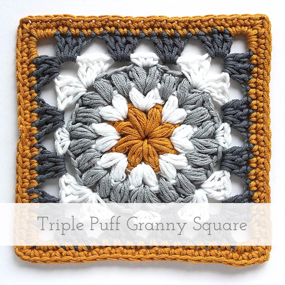 Triple Puff Granny Square | Free pattern + tutorial