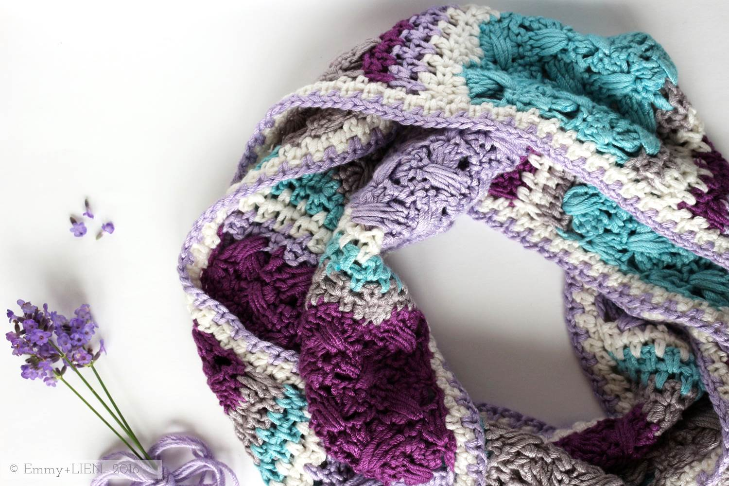 Lavender Skies Crochet Scarf | Pattern by Eline Alcocer, coming early 2016