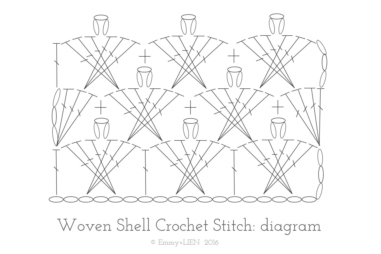 Woven Shell Crochet Stitch: Diagram. For a full tutorial go to www.emmyandlien.com