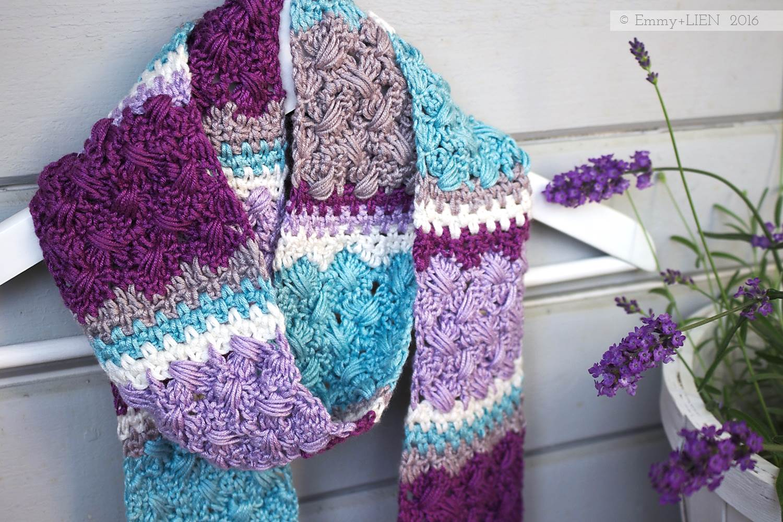 Lavender Skies | a crochet skinny scarf designed by Eline Alcocer
