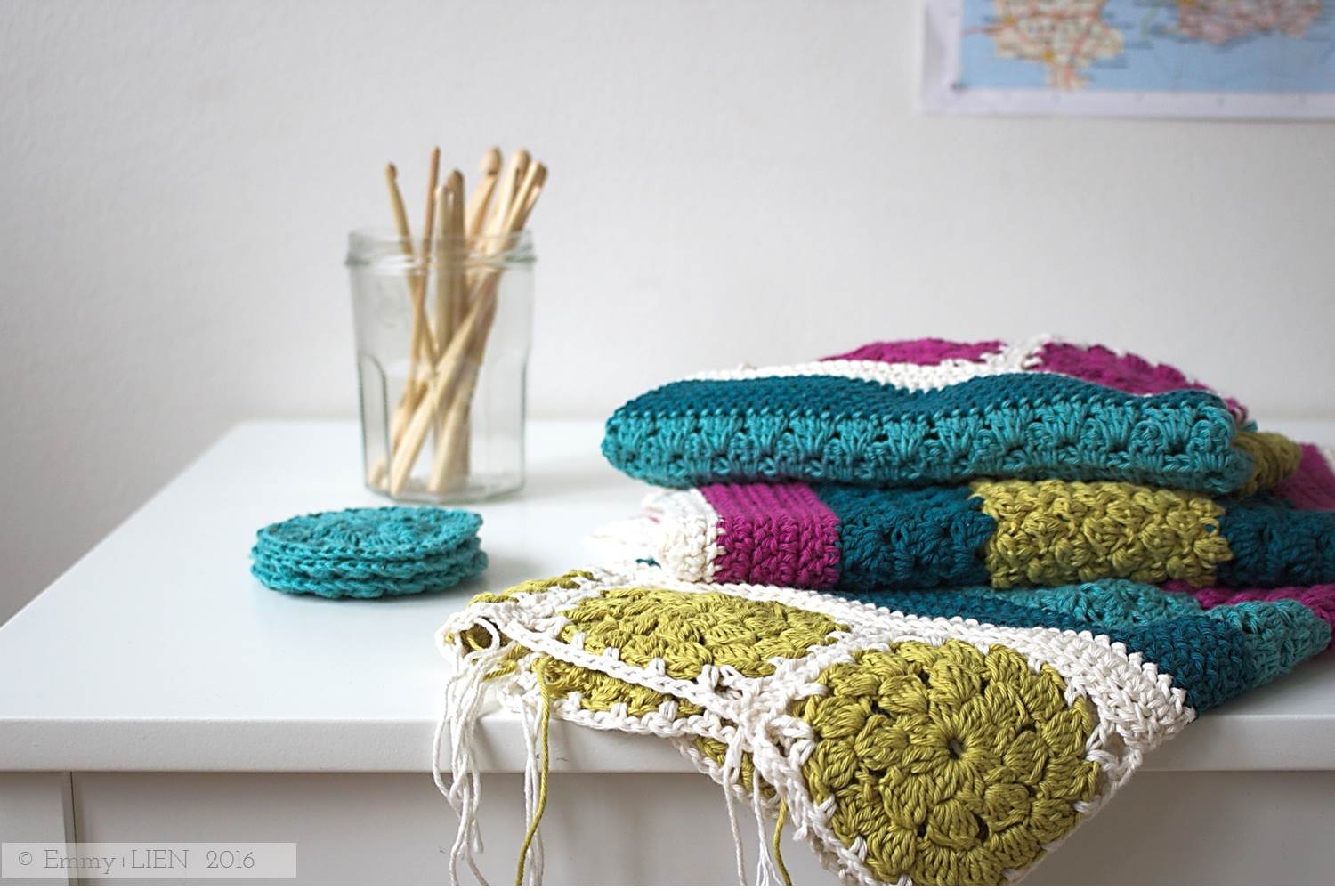 Dally Dahlia blanket in progress | design by Eline Alcocer at Emmy + LIEN