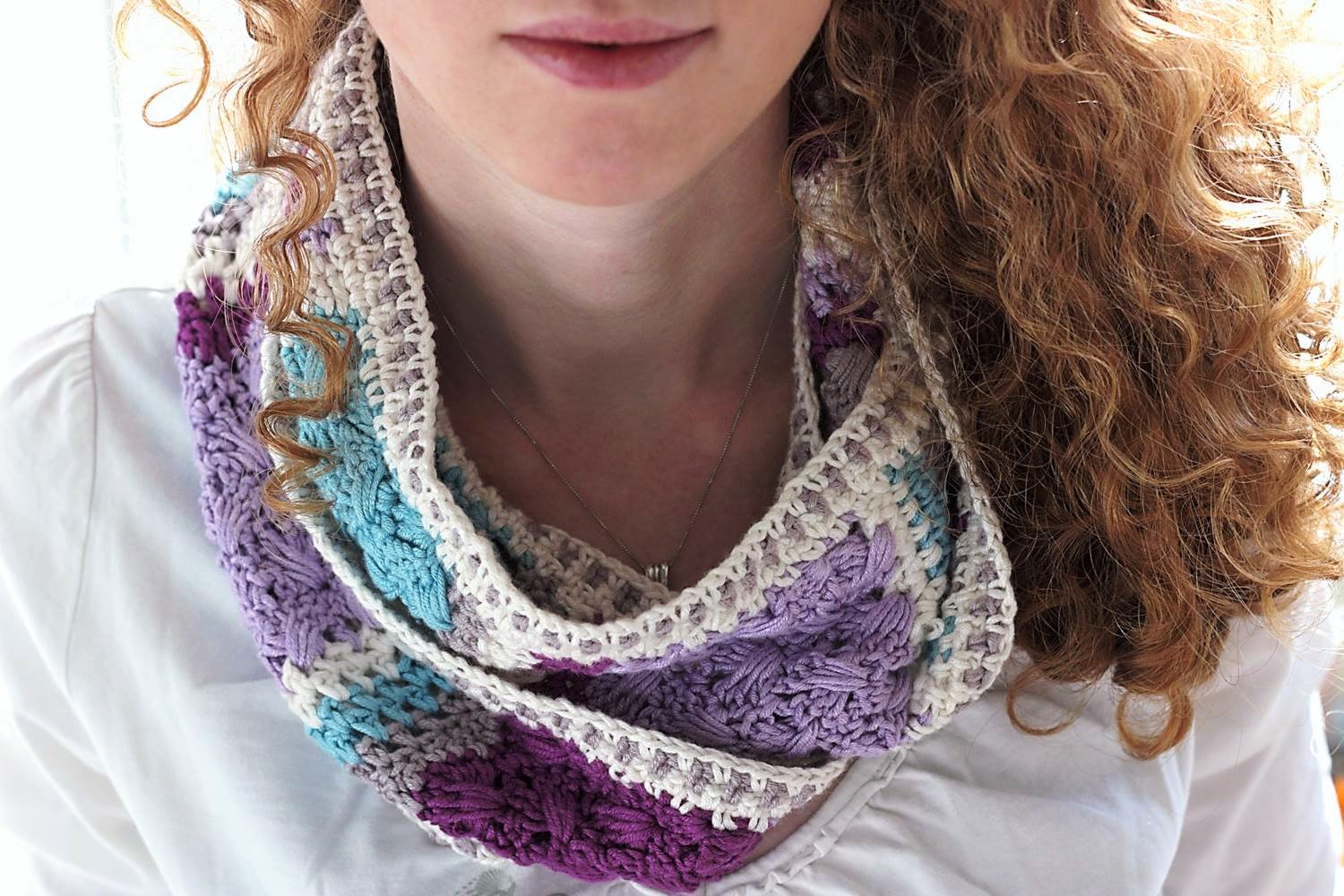 Lavender Skies Cowl, made using Sirdar Snuggly Baby Bamboo and designed by Eline Alcocer.