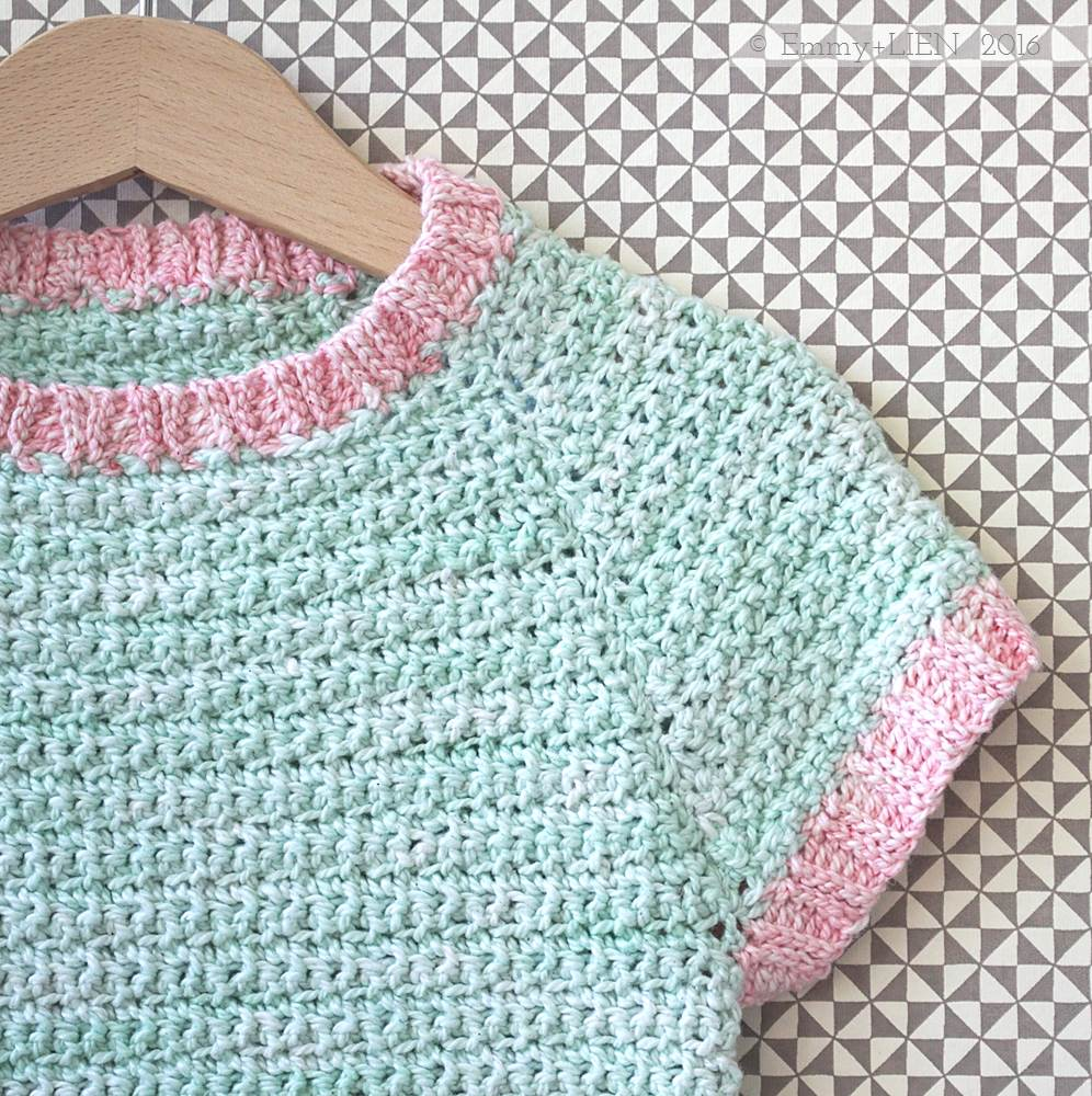 Peach Pocket tunic crochet pattern - ribbing