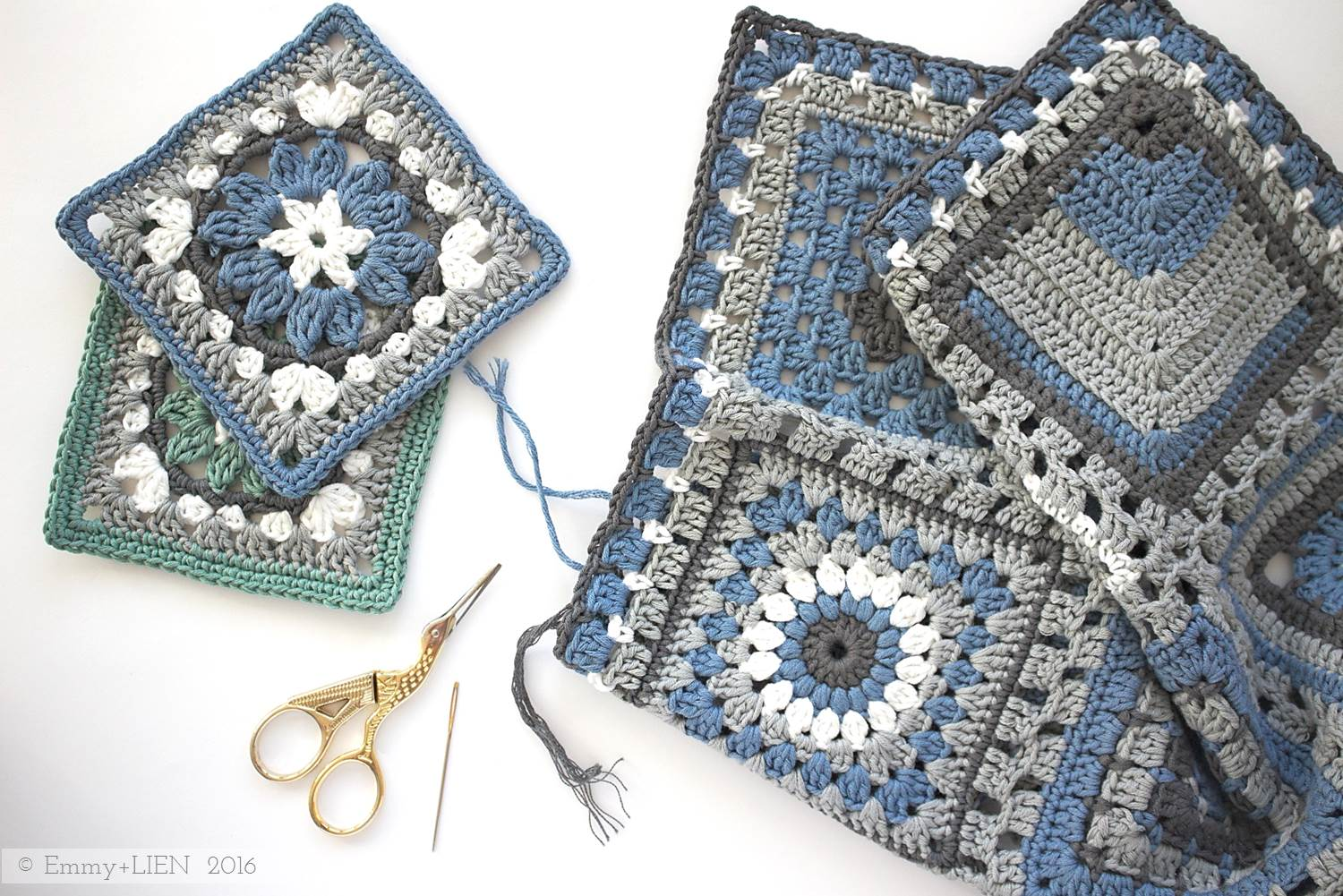 Crochet meets Patchwork blanket   Anemone Square by Eline Alcocer