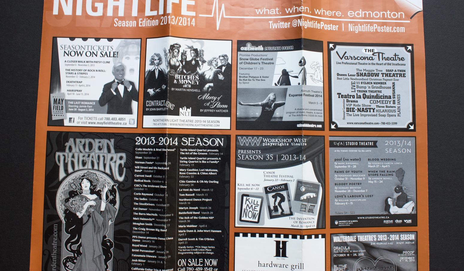 Workshopwest Nightlife Calendar ad for the season
