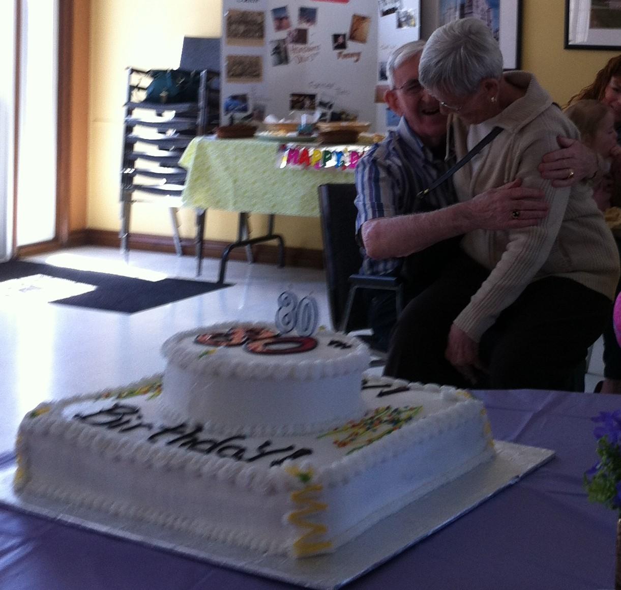 80th Dad, cake and Doreen.JPG