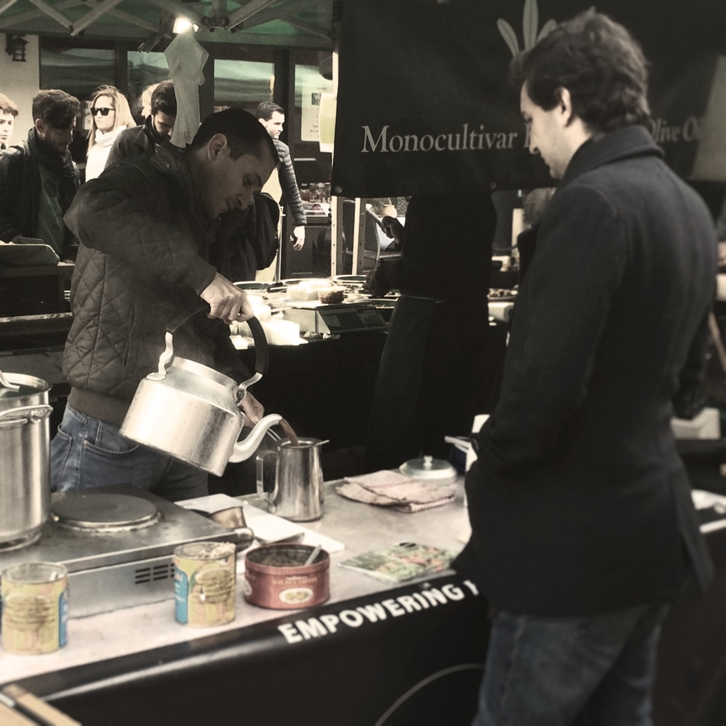 Ayman from Damascus, Syria brewing some chai at Venn Street markets, Clapham Common, London.
