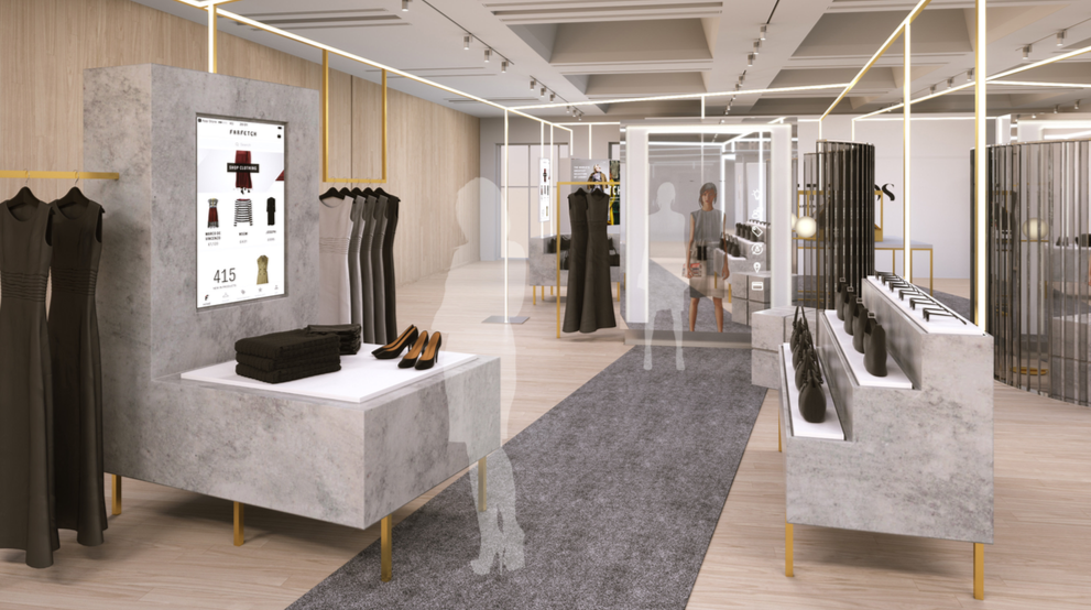 "A glimpse at the ""Store of the Future"", a retail concept from FarFetch which aspires to close the loop between online and in-store, opening its first pilot location in the former space Brown's occupied in London."