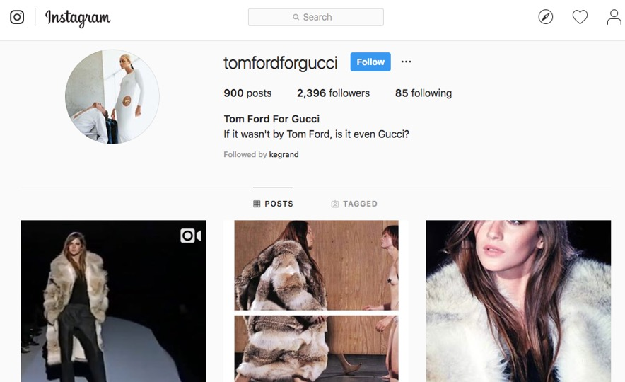 A snapshot @TomFordforGucci, an Instagram account dedicated to the designer's time as Creative Director for the iconic Italian brand.