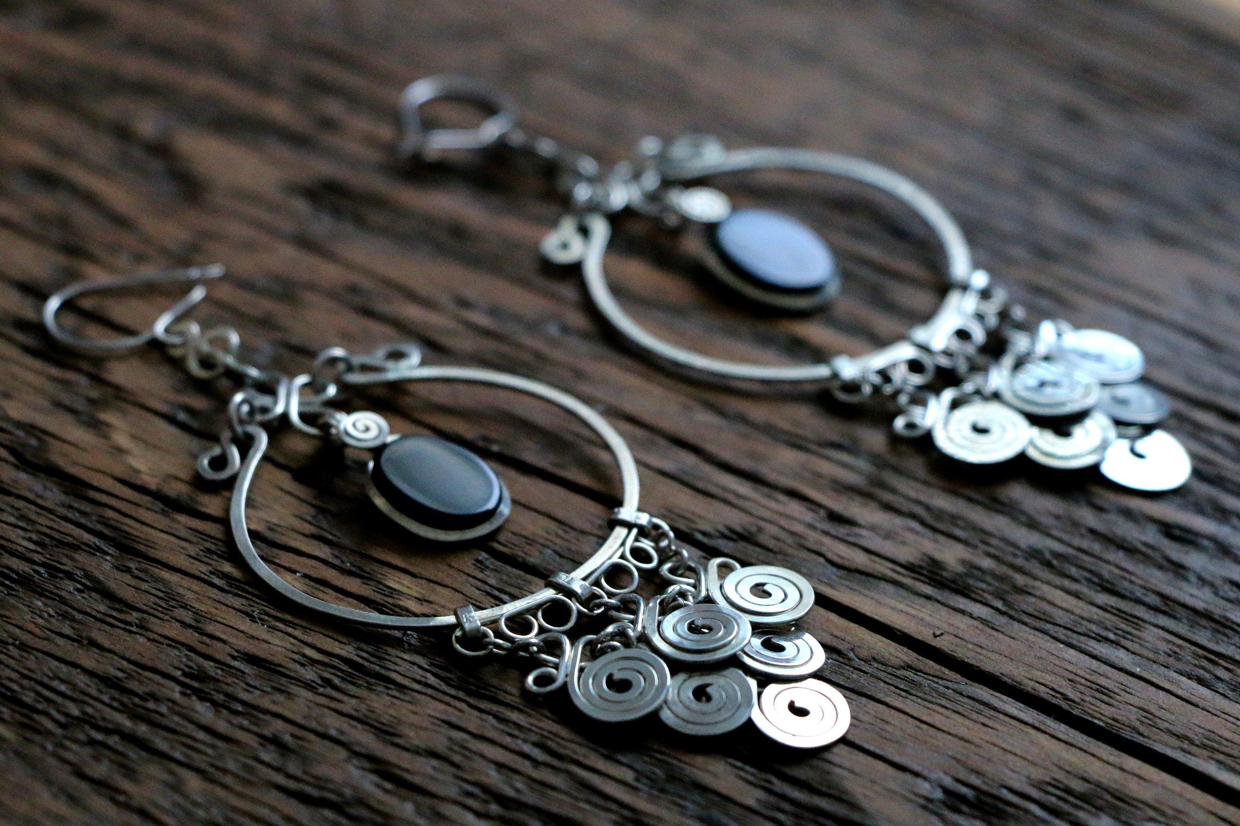 Black Onyx Earrings - Sterling Silver.JPG