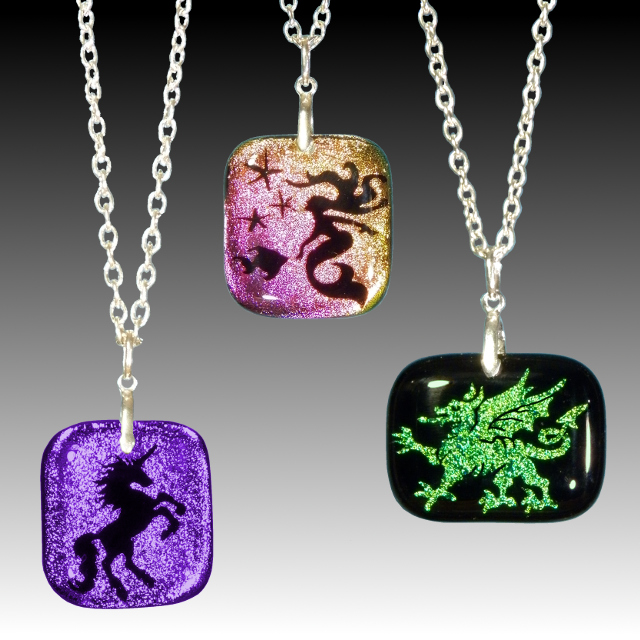 1 Unicorn, Mermaid, Dragon Dichroic Pendants - Quicksilver Halo.jpg