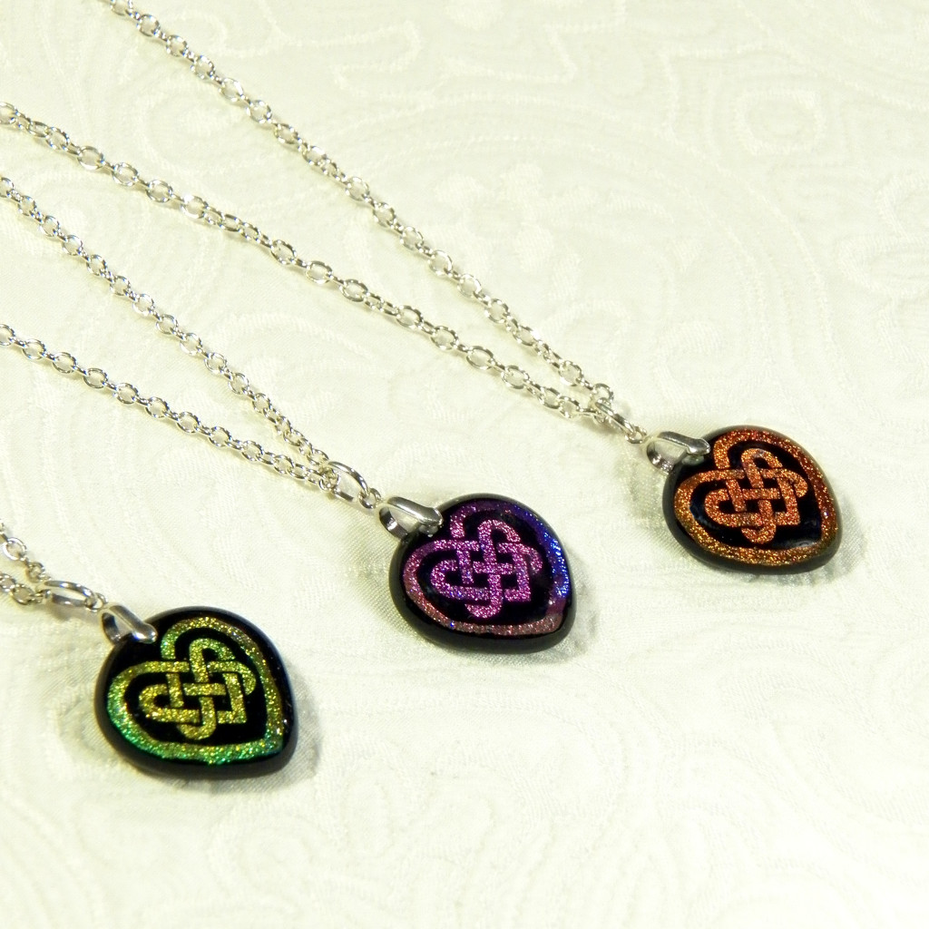 2 Celtic Heart Dichroic Pendants - Quickslver Halo.jpg