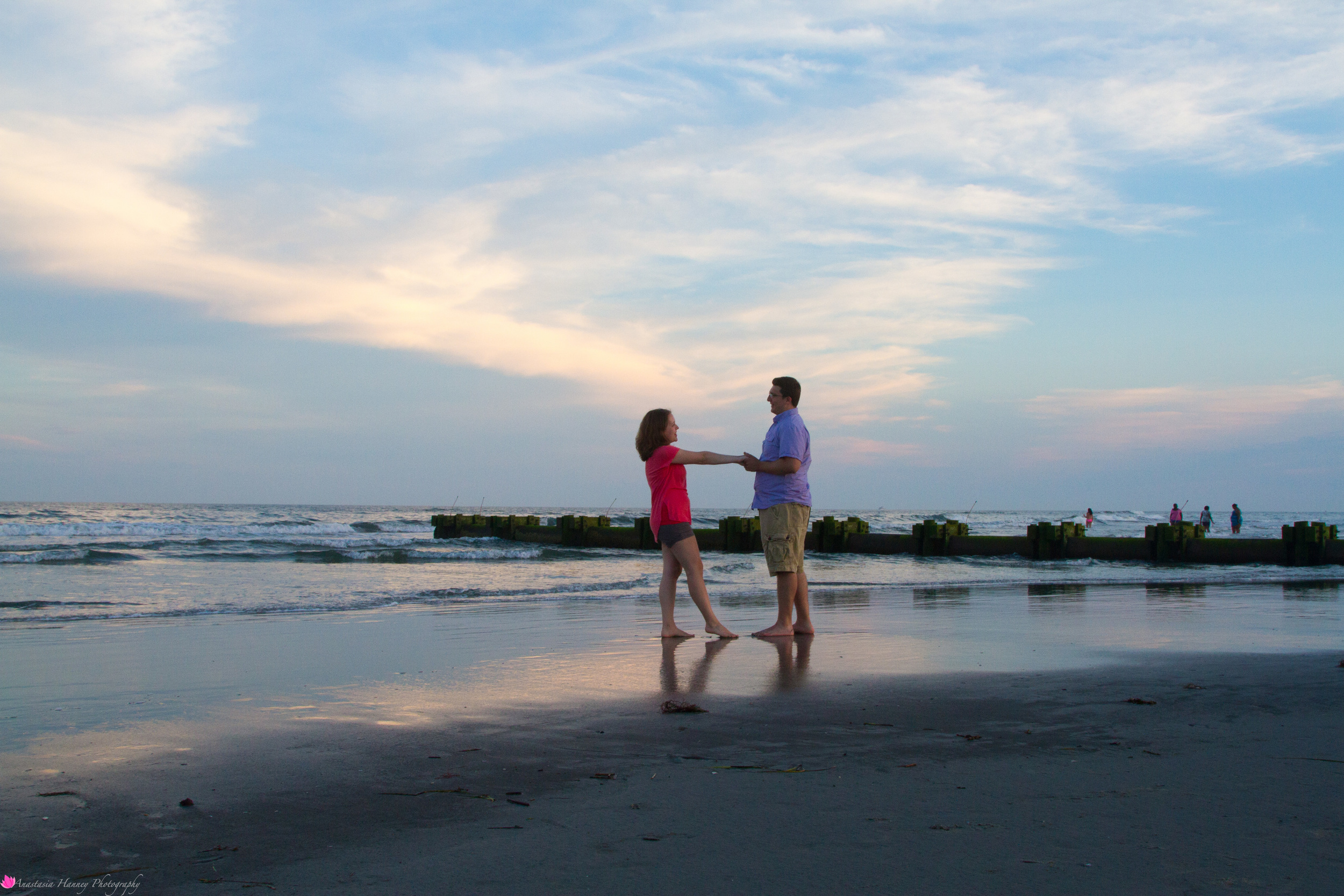Engagement Photographer Proposal on the Wildwood New Jersey Beach Reflective Water at Sunset She Said Yes