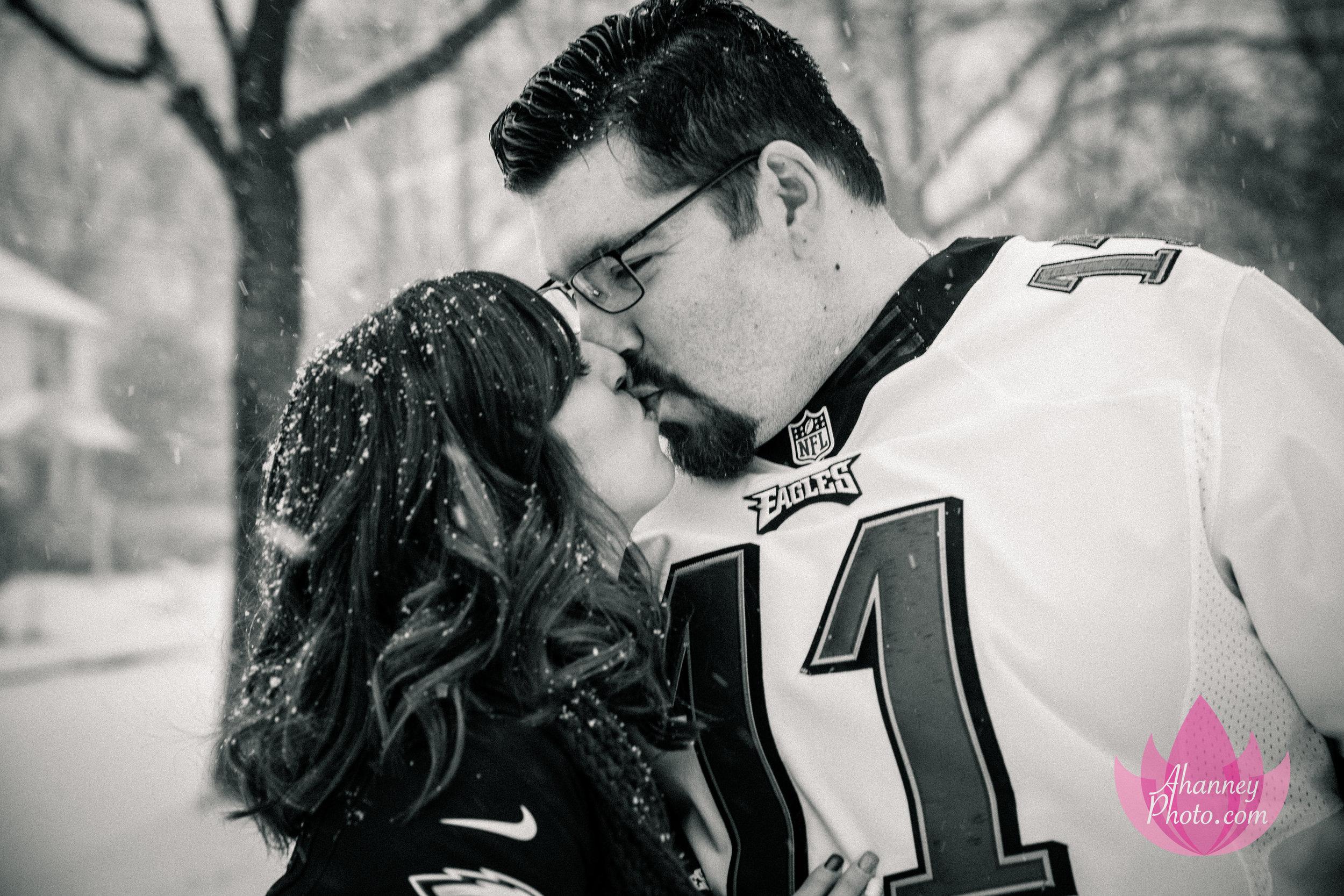 Engagement Photographer Kissing She Said Yes Philadelphia Eagles