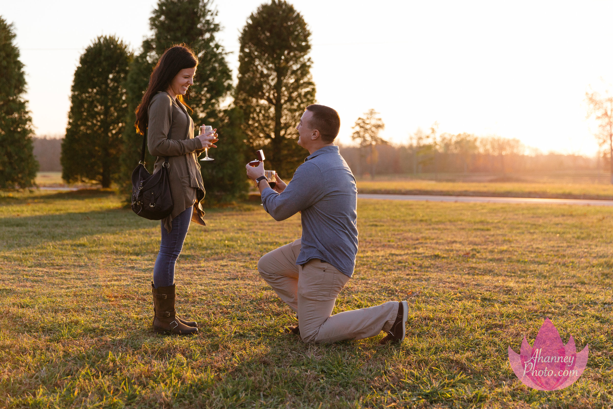 Proposal at White Horse Winery Engagement Photographer in Hammonton New Jersey She Said Yes Down on One Knee
