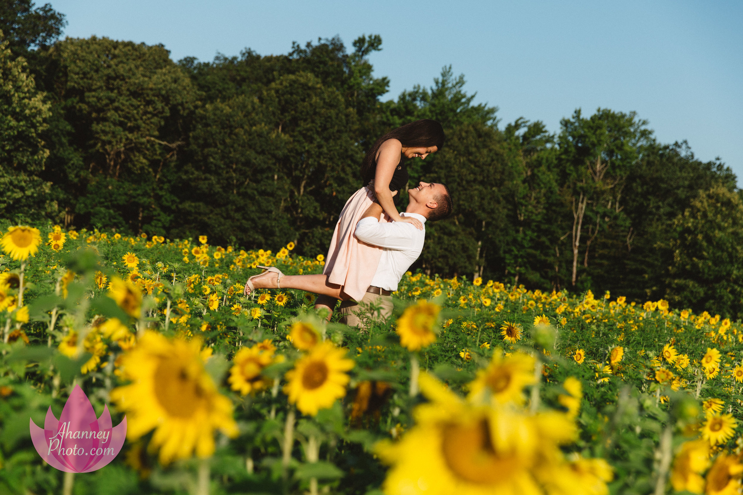 Engagement Photographer in Cape May New Jersey in Sunflower Field She Said Yes