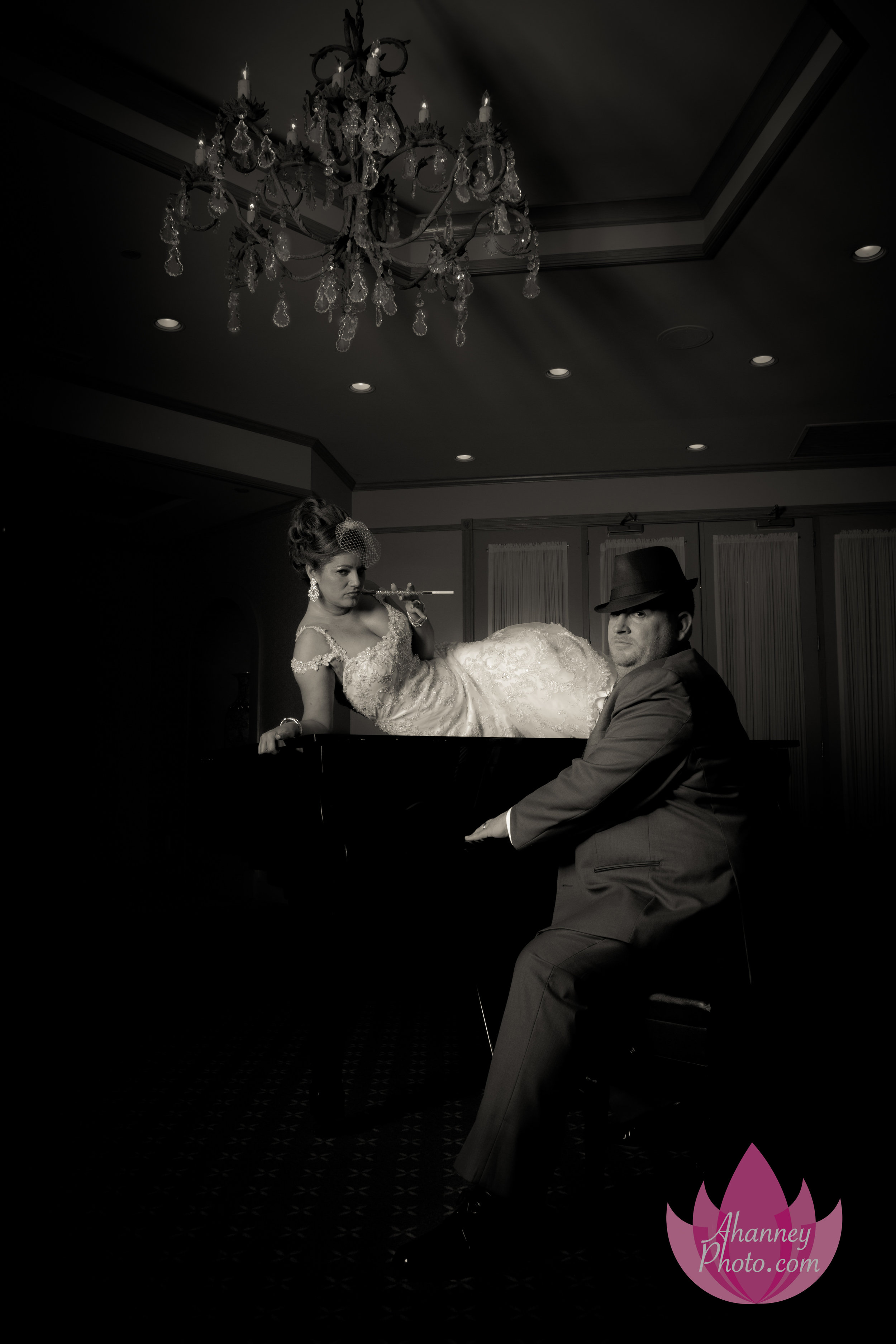 Wedding Photography of Bride on Piano and Groom at The Mansion at Main Street Wedding Couple Voorhees New Jersey Anastasia Hanney Photography AHanneyPhoto