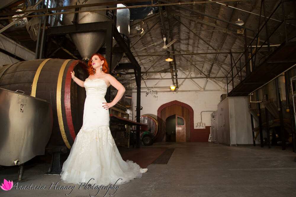 Wedding Photography of Bride at Renault Winery Posing Egg Harbor City New Jersey by Anastasia Hanney Photography AHanneyPhoto