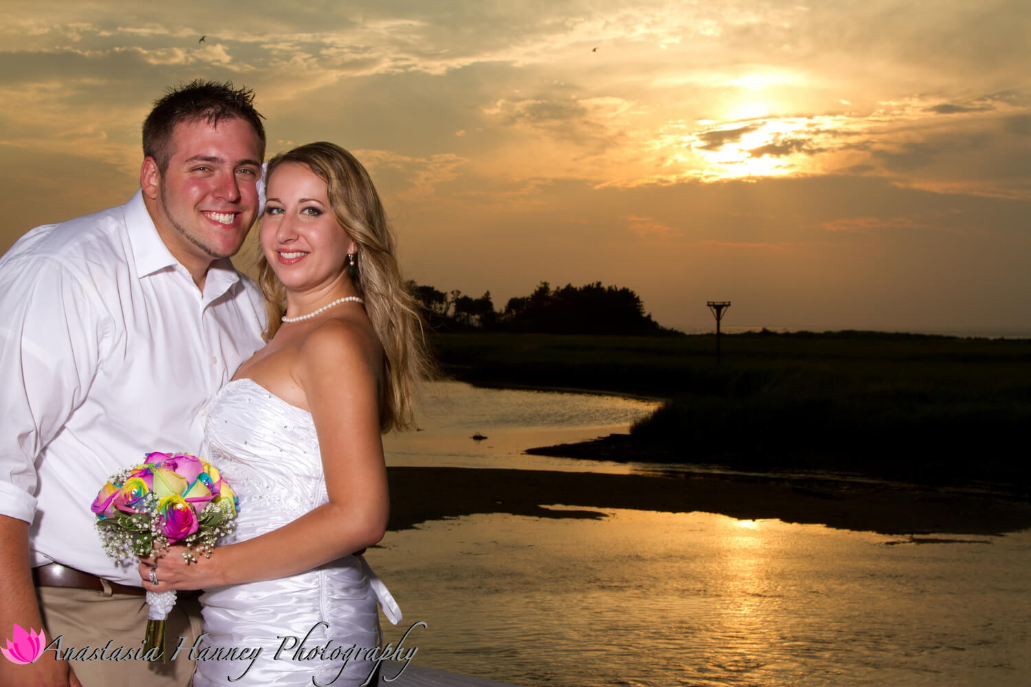 Wedding Photography of Bride and Groom at Sunset on Jersey Shore Beach