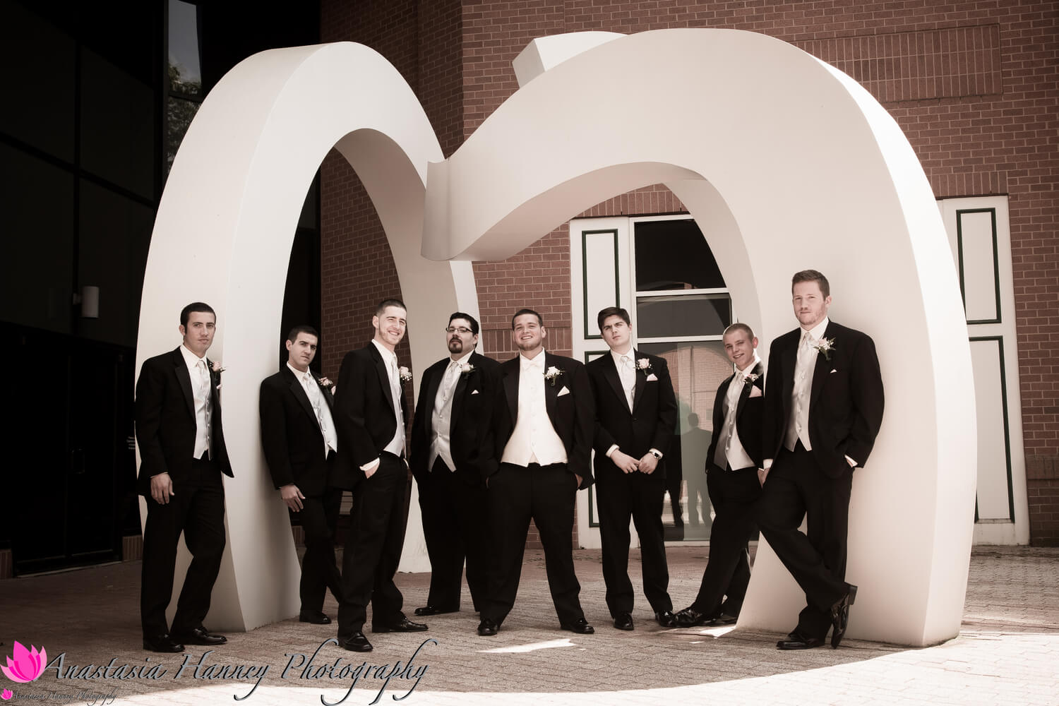 Wedding Photography of Groomsmen outside The Mansion at Main Street in Voorhees New Jersey by Anastasia Hanney Photography AHanneyPhoto