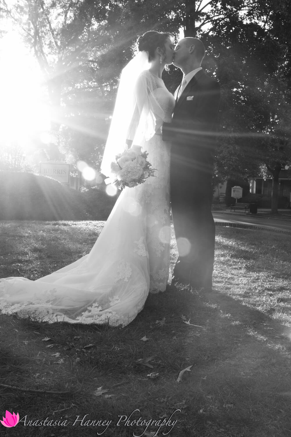 Wedding Photography of Bride and Groom in Sun Flare at Moorestown Community House in Moorestown New Jersey by Anastasia Hanney Photography AHanneyPhoto