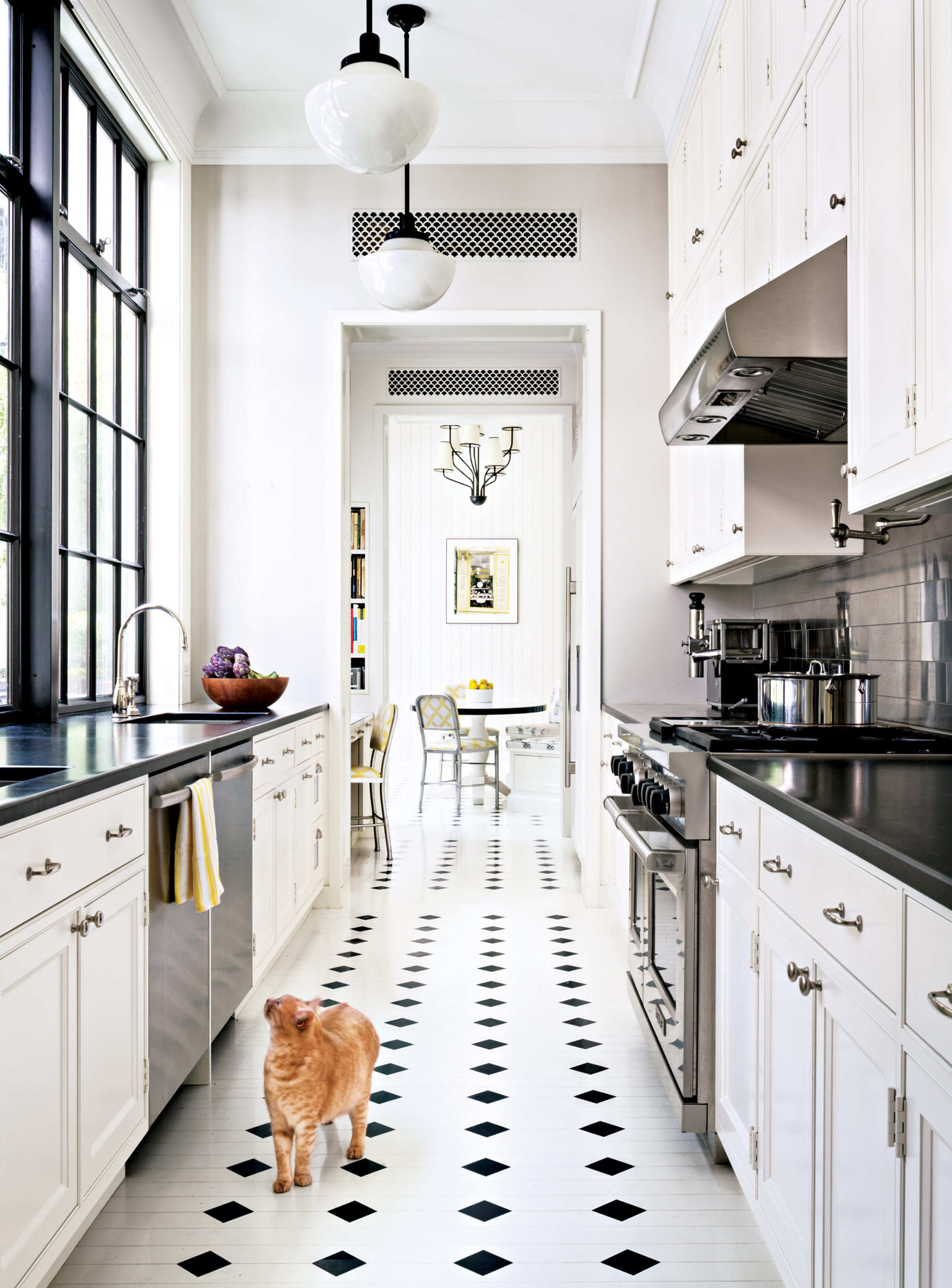 This Uptown style in classic black and white is very retro and will stand the test of time. Design by: Steven Harris Architects, Photo by: Scott Frances