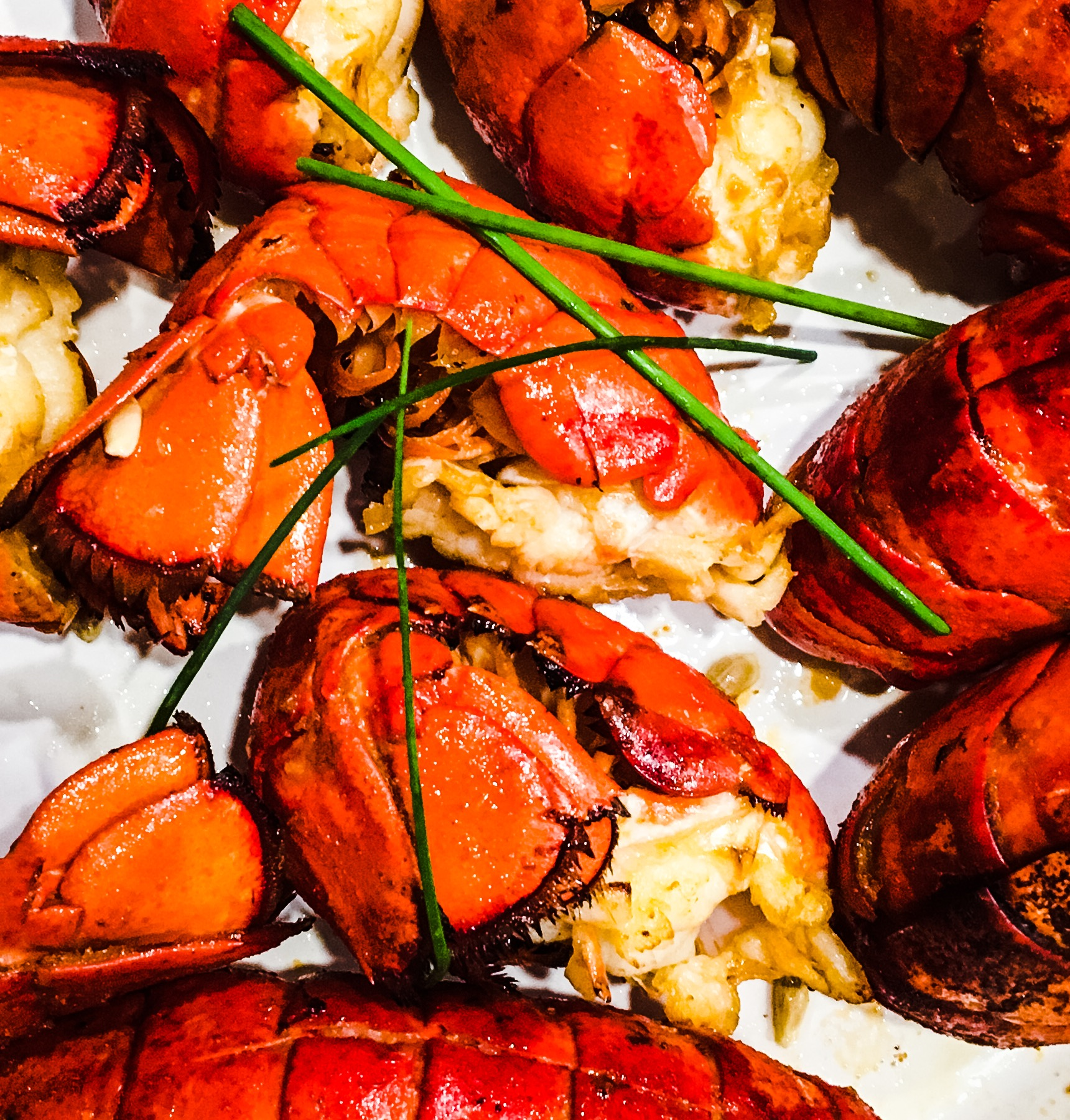 Oven Grilled Garlic Lobster Tails with Sriracha Butter