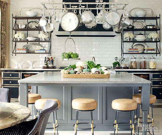 The heart of the home. This French-style kitchen featured in Better Homes & Gardens has it all. Don't you just want to cook and entertain in here?  #parisianstyle (Photo: Better Homes & Gardens)