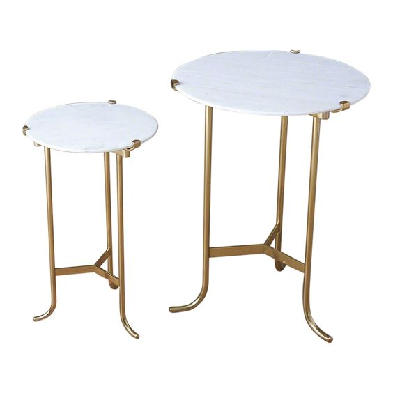 Polished Brass & White Marble Table