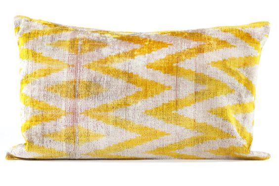 Silk Velvet Pillow - Yellow