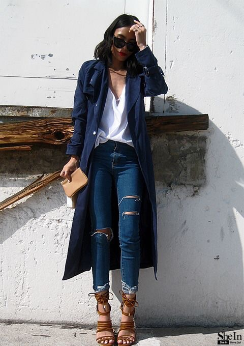 Edgy chic. The trench coat, ripped jeans, and strappy heels. (Image Soure: SheIn.com)