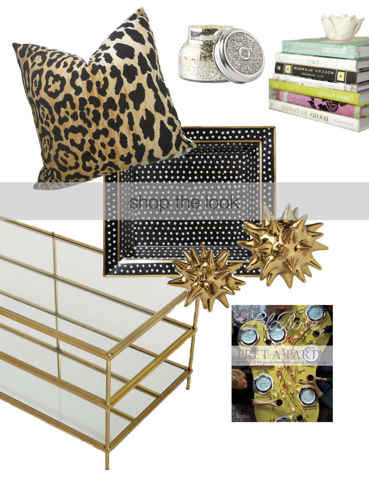 Keep your coffee table simple with black, white, and gold or silver accents to accentuate with your spotted pillow. White and black coordinate with any color palette and remain timeless. To add dimension and instant color pop, show off your lifestyle books or magazines and top off with a printed toss-all tray for keys or candies.