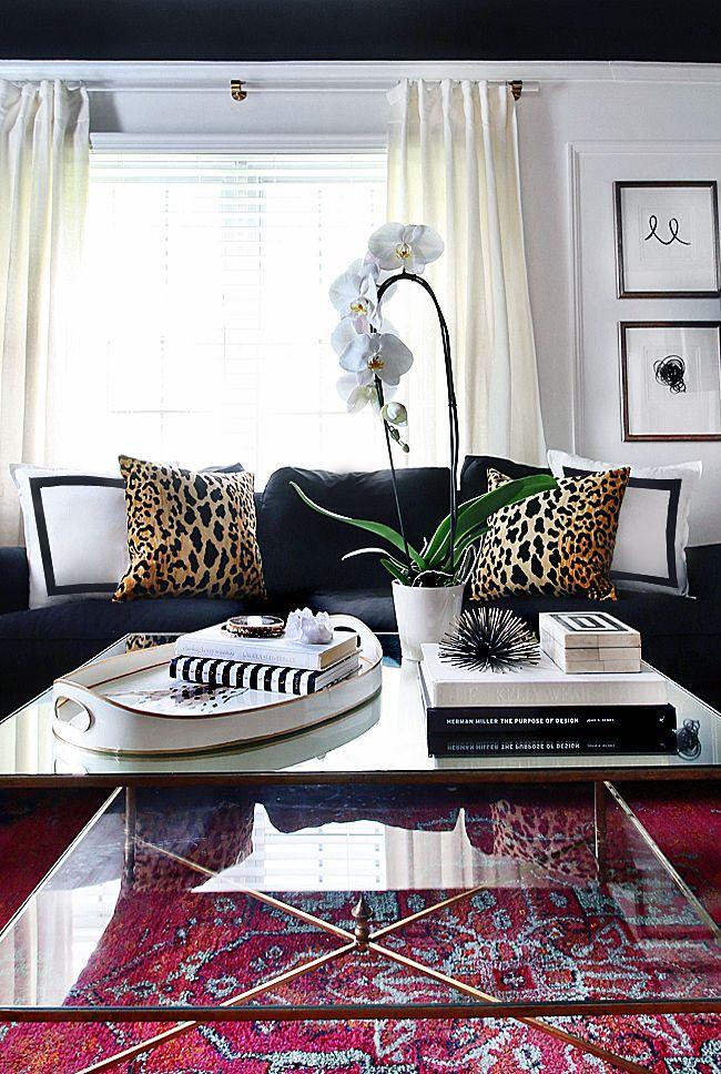 Black, white, vibrant color,and leopard