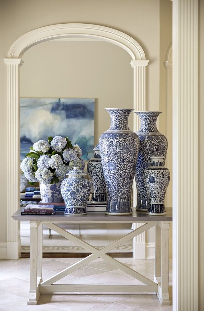 {Shadow Valley, Design by Tobi Fairley. See more of this lovely blue and white inspiration  here .
