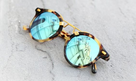 Mirrored Tortoise-shell Sunglasses (Blue)