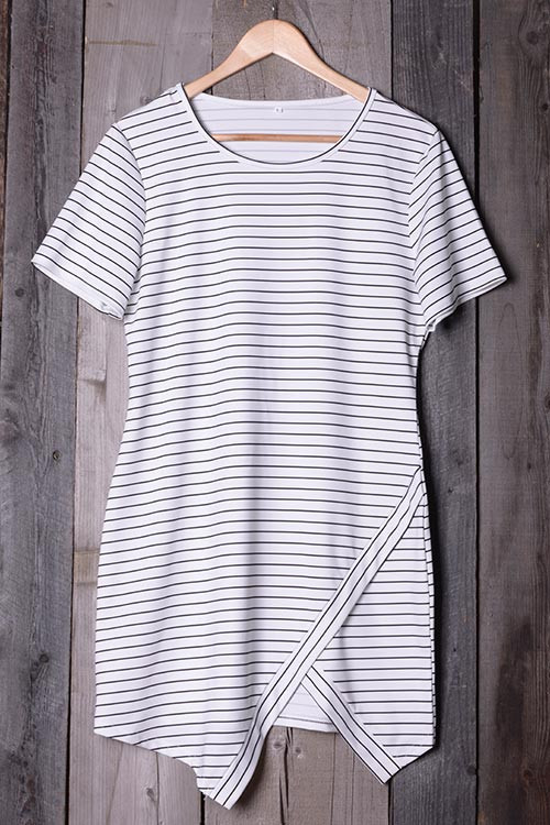 CUPSHE CUT TO STRIPE PRINTING SLIT DRESS $19