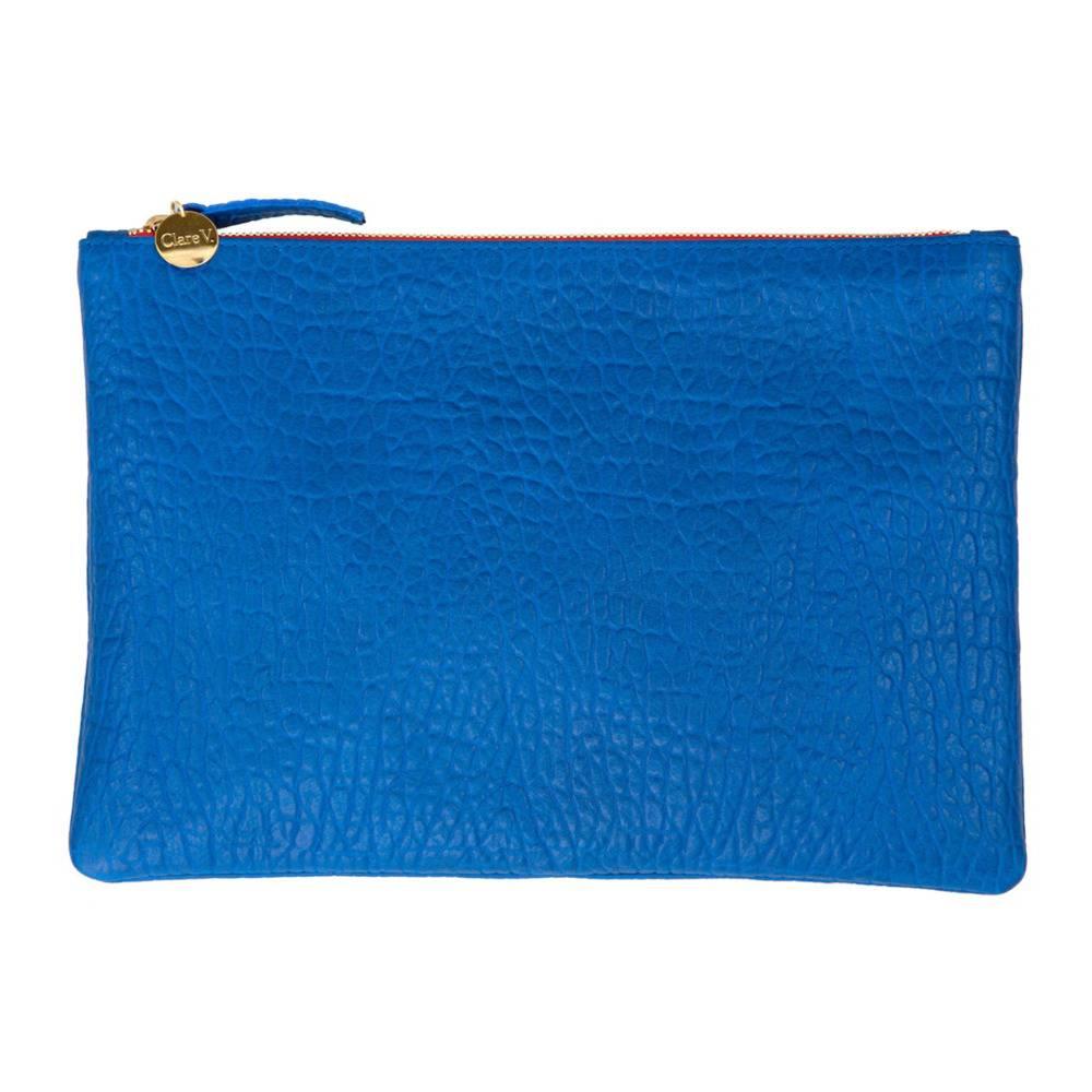 Royal Blue Pebble Flat Clutch $199