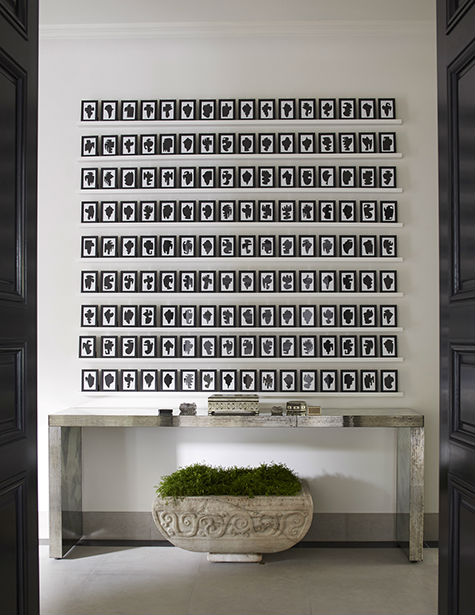 {Console, custom by John Himmel Decorative Arts; Antique Italian planter, Richard Shapiro Studios; Art, Allan McCollum}