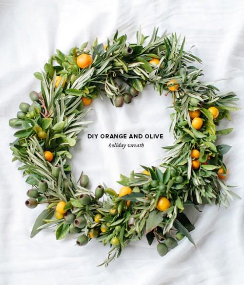 Orange and Olive Wreath DIY