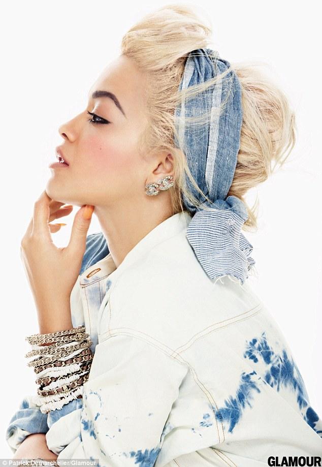 Rita Ora posing for Glamour Magazine
