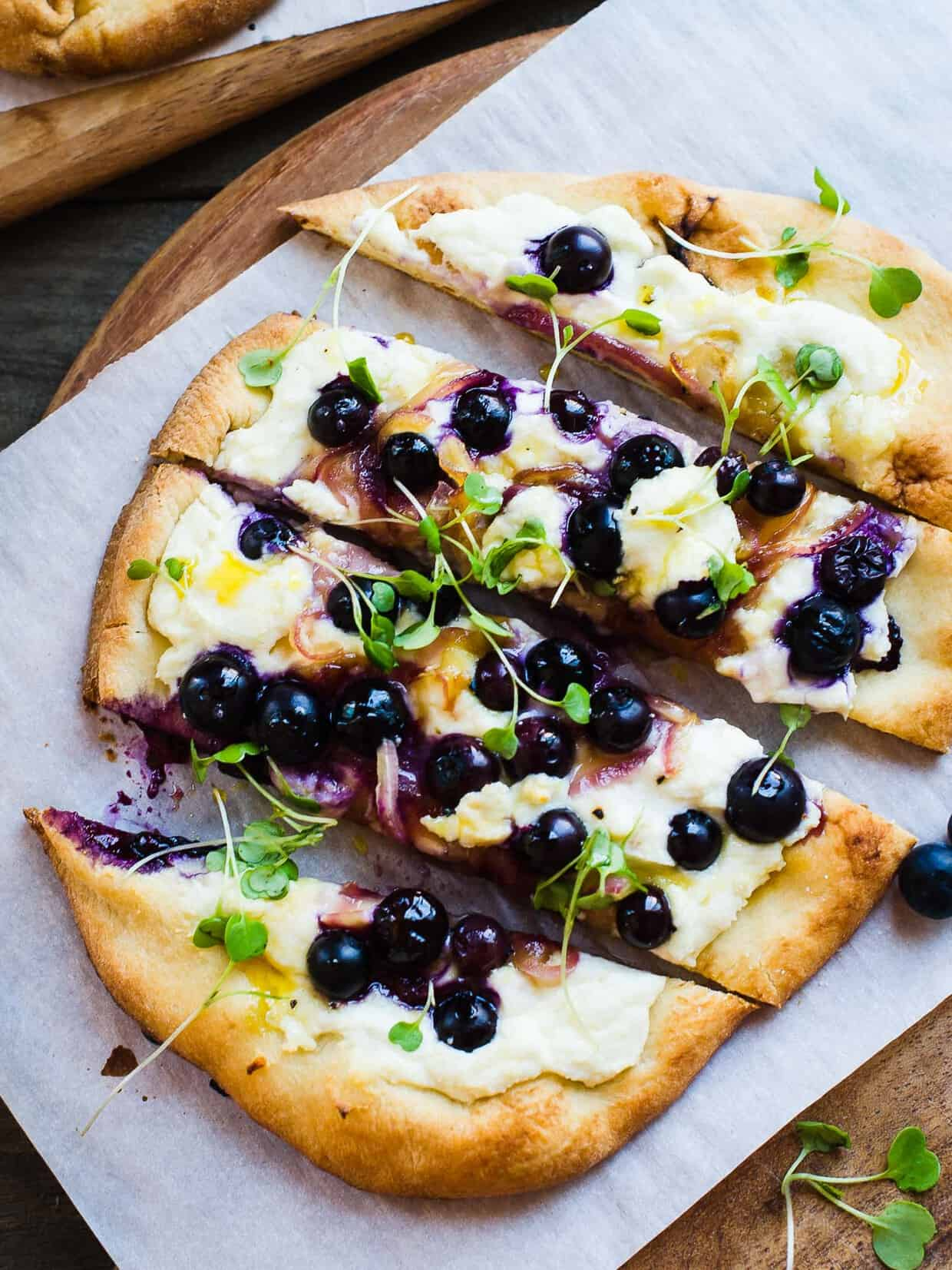 Blueberry, Feta and Honey-Carmelized Onion Naan Pizza