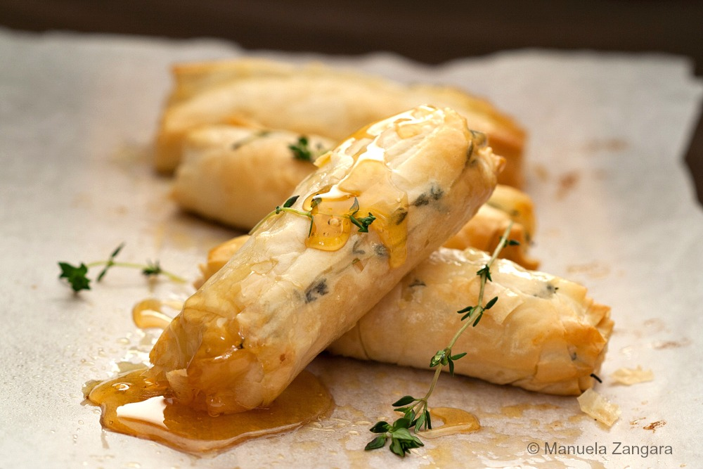 Baked Goat Cheese Rolls with Honey & Thyme
