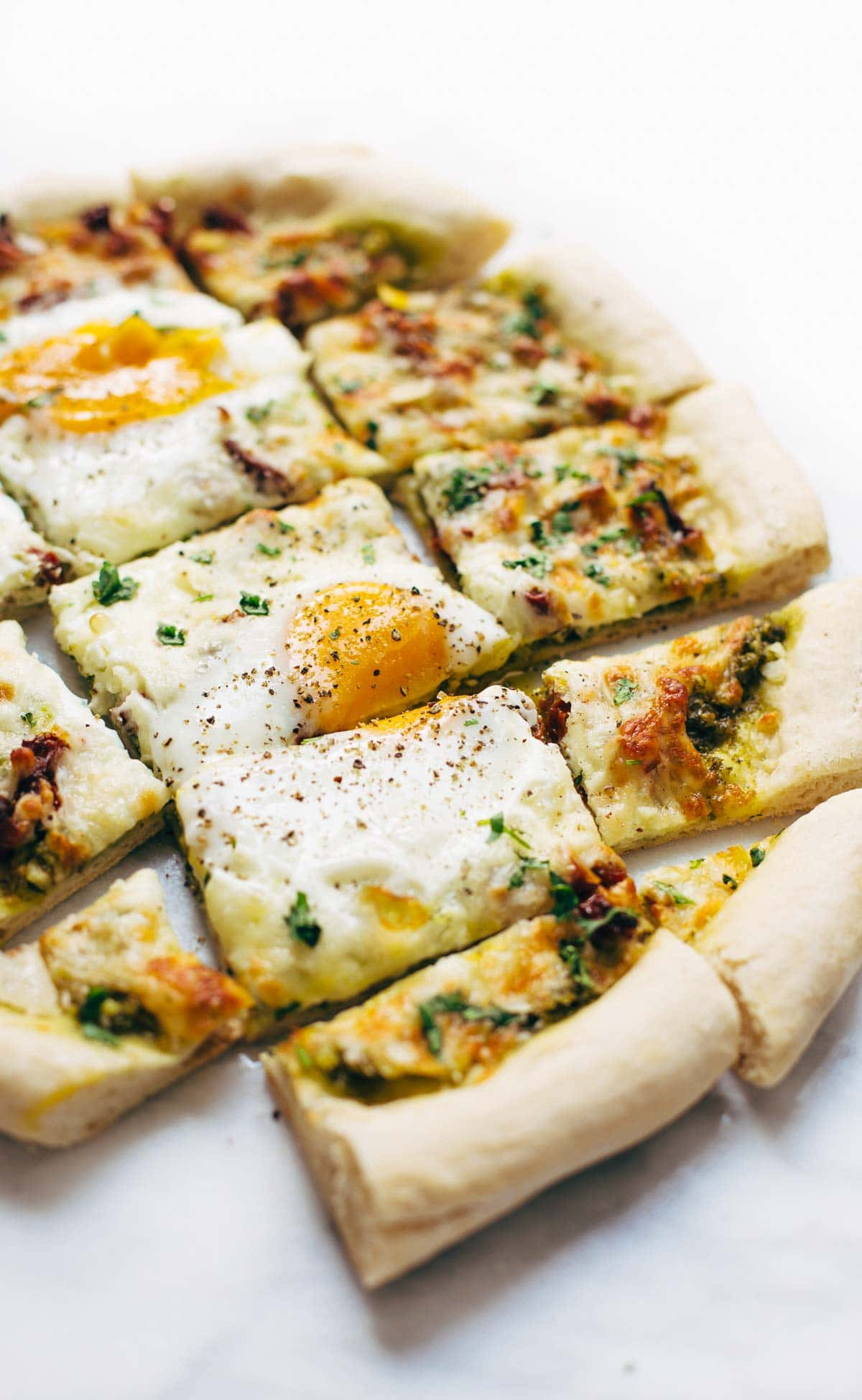 Breakfast Pizza with Kale Pesto & Sun Dried Tomatoes