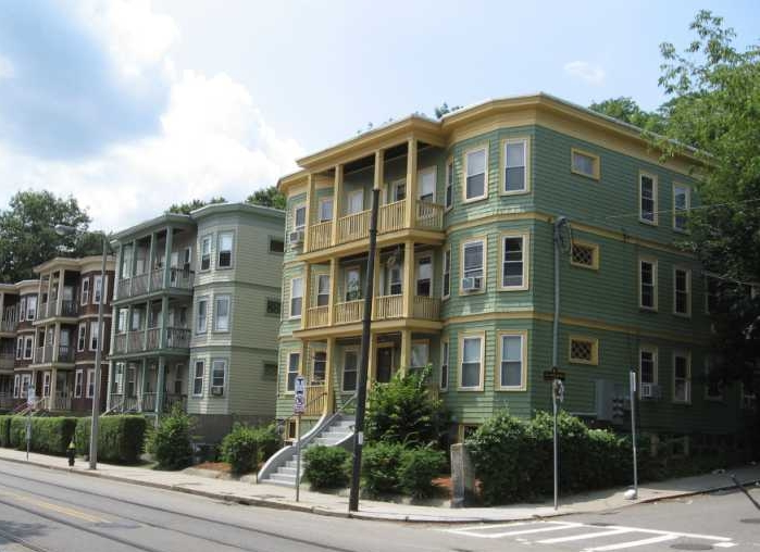 Or this: the typical worker housing so common in Boston: triple-decker housing. These were originally built in the late 19th- early 20th-centuries throughout New England to house large quantities of immigrants coming to the area to work in factories. More liveable than other types?