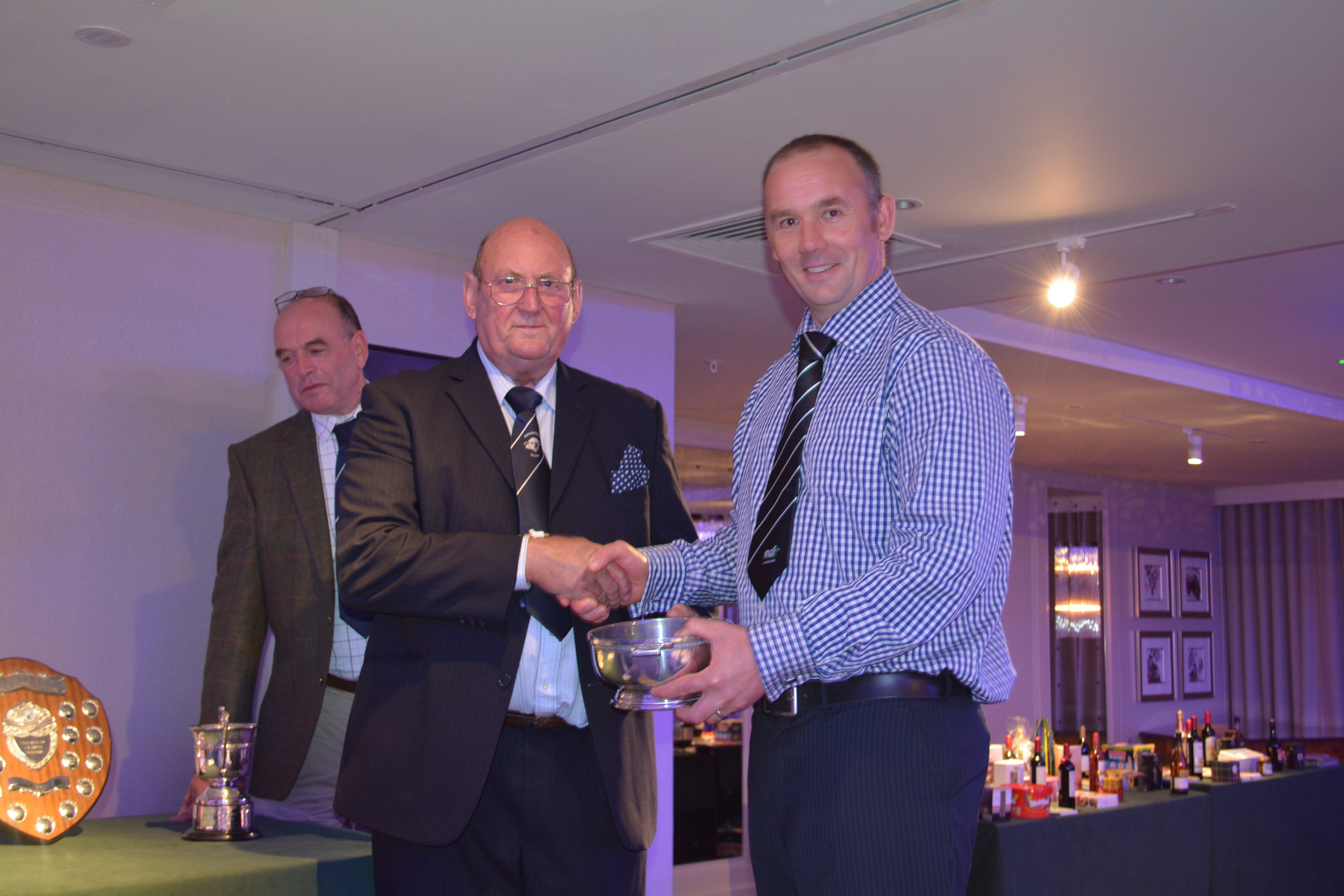 Jon Barnard of the STOURFIELD Flock receives the Scottish Quaich for Best Stock Rams